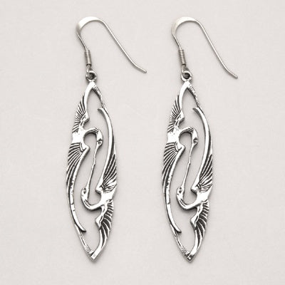 Herons Kissing Wire Earrings