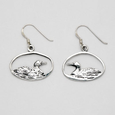 Duck in Open Oval Earrings