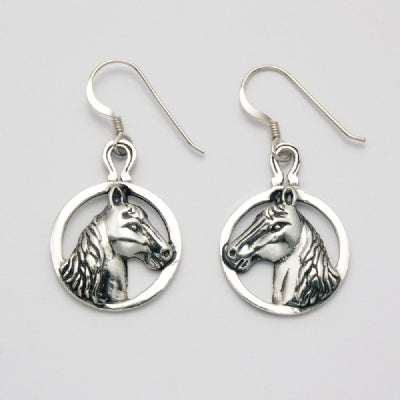 Circle Horse Earrings