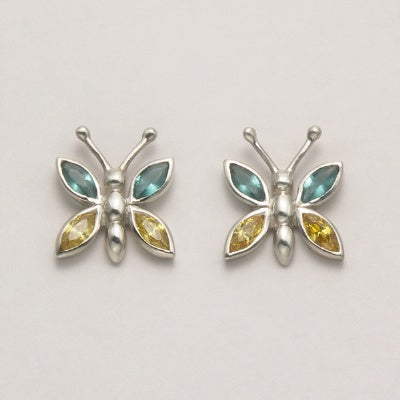 Butterfly with Blue Topaz and Peridot Earrings