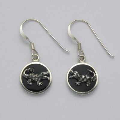 Alligator on Onyx Circle Earrings