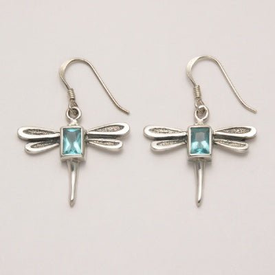Dragonfly Earrings with Emerald Cut Blue Topaz