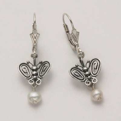 Wire Butterfly Earrings with Pearl Drop