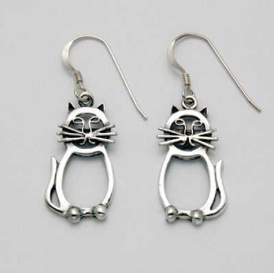 Abstract Flat Cat Earrings