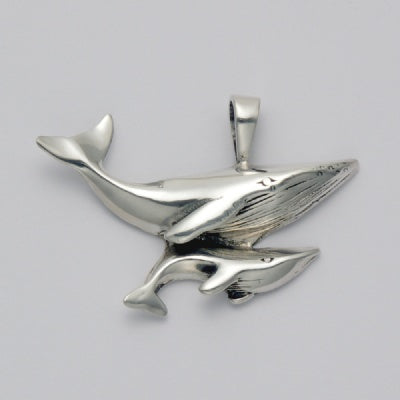 Small Mother and Baby Whale Pendant
