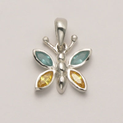 Small Butterfly Pendant with Blue Topaz and Peridot