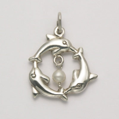 Three Dolphins with Pearl Pendant