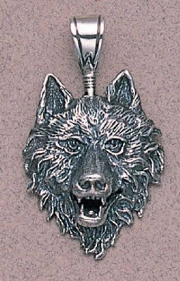 Large Wolf Head Pendant