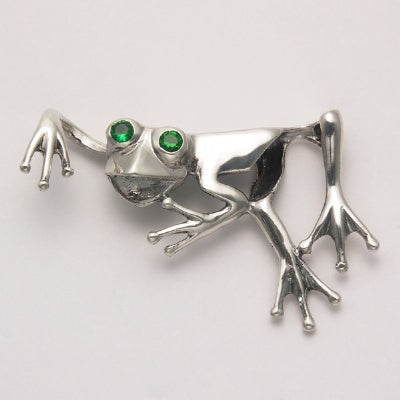 Abstract Frog with Green Stone Eyes Pendant