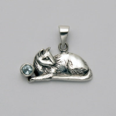 Sitting Cat with Blue Topaz Pendant