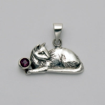 Sitting Cat with Amethyst Pendant