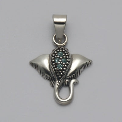 Aqua Crystal Stingray Pendant