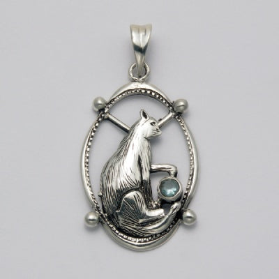 Sitting Cat with Onyx in Oval Pendant