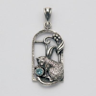 Sitting Cat with Onyx Pendant