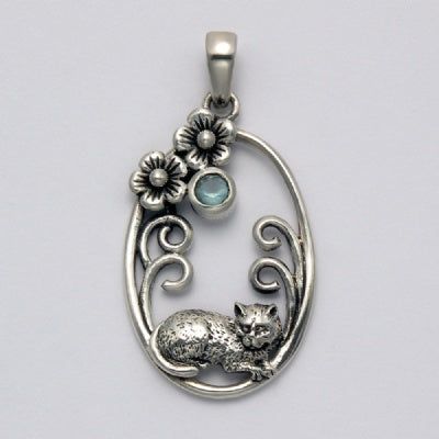Resting Cat with Onyx in Oval Pendant