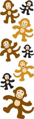 Monkey  Puffy Fuzzy Slim Stickers