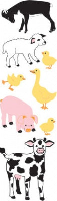 Farm Animals Puffy Fuzzy Slim Stickers