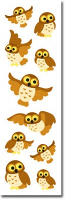 Owls Puffy Fuzzy Slim Stickers