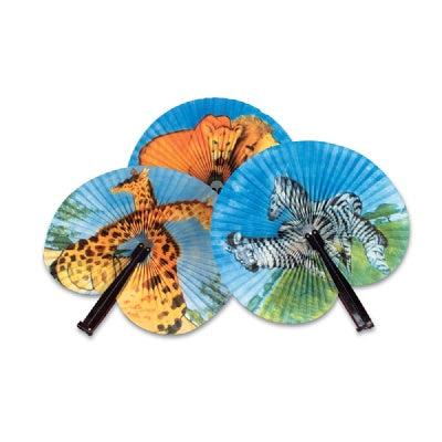 Zoo Animal Pairs Folding Fan (Bulk Pack of 12 Fans)