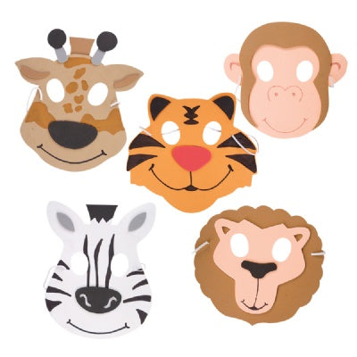 Foam Zoo Animal Masks (Bulk Pack of 12 Masks)
