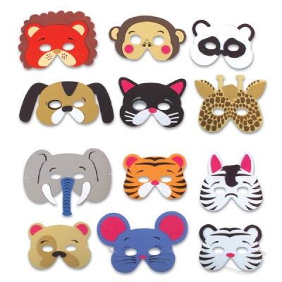 Foam Animal Masks (Bulk Pack of 12 Masks)