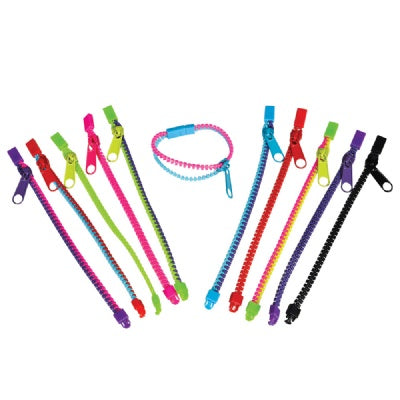 7-inch Zipper Bracelets  (Bulk Pack of 12 Bracelets)