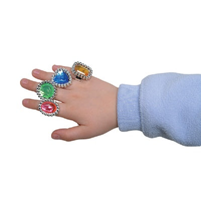 Plastic Jewelled Princess  Ring (Bulk Pack of 144 Rings)
