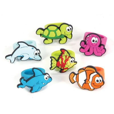 Sea Life Rubber Rings (Bulk Pack of 12 Rings)