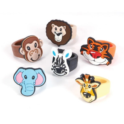 Zoo Animal Rubber Rings (Bulk Pack of 12 Rings)