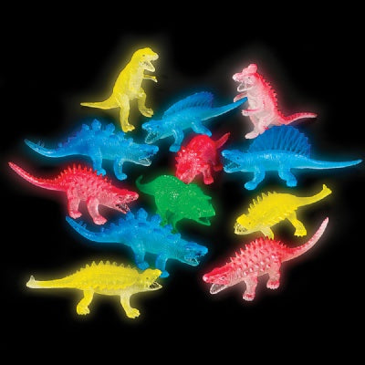 5.5-inch Glowing Dinosaurs (Bulk Pack of 12 Dinos)