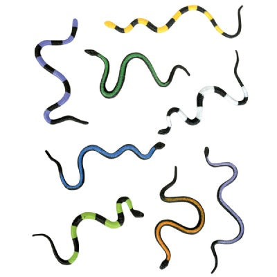 8-inch Vinyl Stretch Snake (Bulk Pack of 12 Snakes)