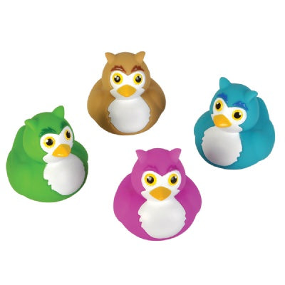 2-inch Owl Rubber Duckies (Bulk Pack of 12 Ducks)