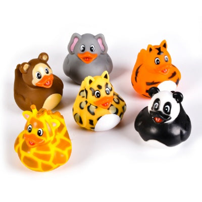 2-inch Zoo Animal Rubber Duckies (Bulk Pack of 12 Ducks)