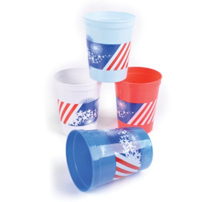 Plastic Patriotic Cups (Bulk Pack of 12 Cups)