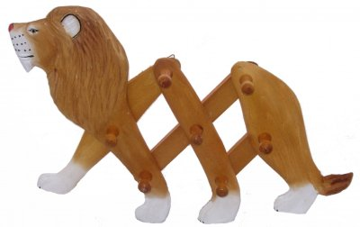 Wooden Lion Clothes Rack