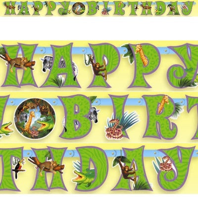 Safari Party Illustrated Letter Banner