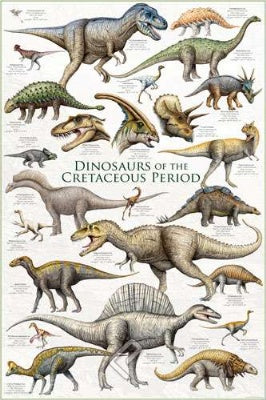 (E48) Dinosaurs of the Cretaceous Period Poster