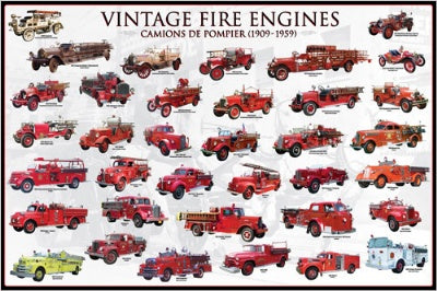 (E59) Vintage Fire Engines Poster