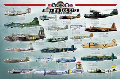 (E81) Allied Air Command World War II Bombers Poster