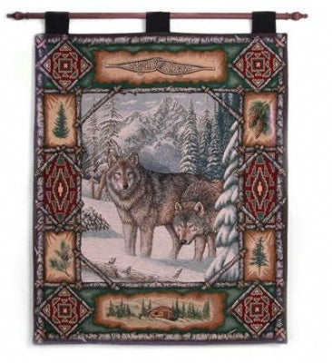 Wolf Lodge  (Wall Hanging with Wood Rod)