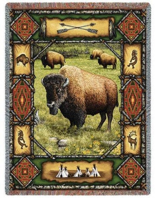 Buffalo Lodge (Tapestry Throw)