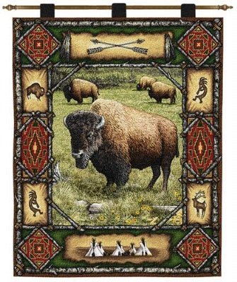 Buffalo Lodge  (Wall Hanging with Wood Rod)