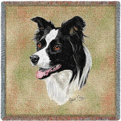 Border Collie Lap Sq (Tapestry Throw)