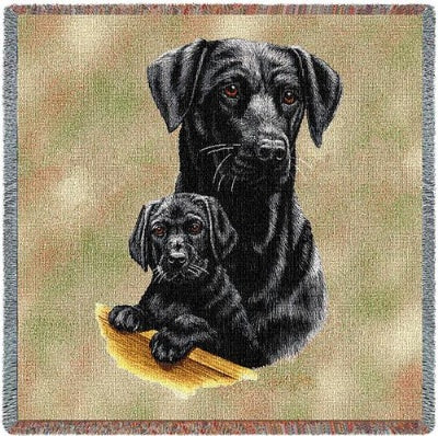 Black Lab Pups (Tapestry Throw)