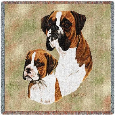 Boxer & Pup  (Tapestry Throw)
