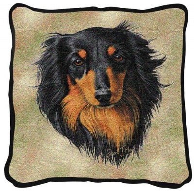 Brown/Blk Longhair Dachs (Pillow)