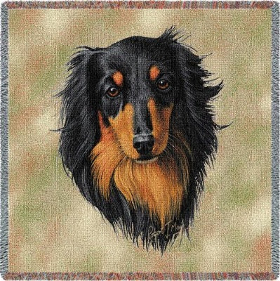 Brown.Blk Longhair Dachshund (Tapestry Throw)