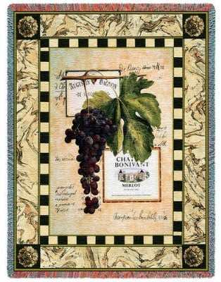 Grapes & Labels Iv (Tapestry Throw)