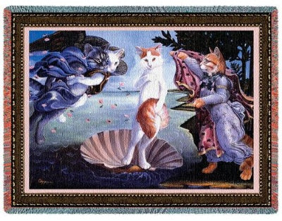 Kitty On Half Shell (Tapestry Throw)