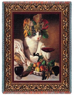 Bacchus Cat (Tapestry Throw)